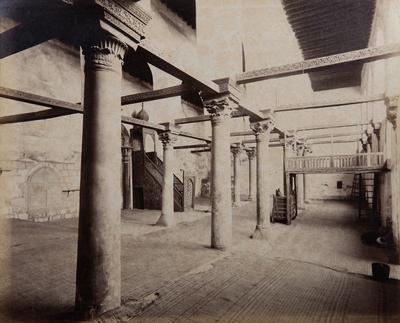 Salle de pière et minbar de la mosquée al-Salih Tala'i', s. d., bibliothèque de l'INHA, Raccolta artistica..., 1887, f° 26.
