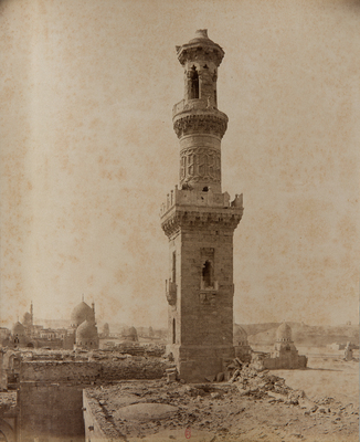 Un des minarets du complexe funéraire al-Nasir Faraj ibn Barquq, s. d., bibliothèque de l'INHA, Raccolta artistica..., 1887, f° 40.