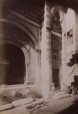 Façade latérale du sabil-kuttab 'Abd al-Rahman katkhuda, s.d., bibliothèque de l'INHA, Raccolta artistica..., 1887, f° 148.