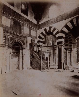 Mur de qibla de la mosquée Altinbugha al-Maridani, s. d., bibliothèque de l'INHA, Raccolta artistica..., 1887, f° 33.
